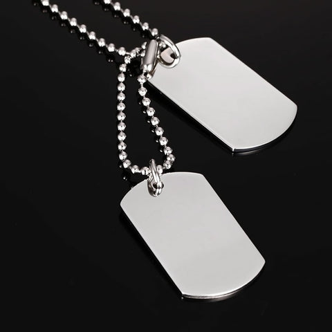 Military Tag Necklace, Silver