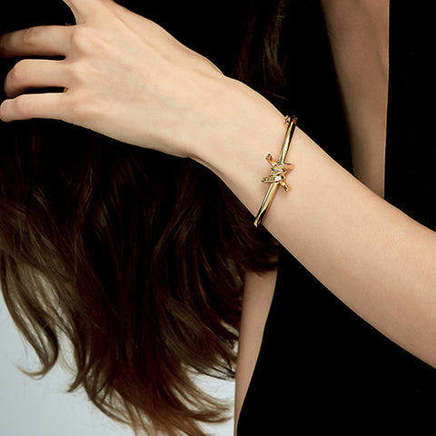 Barbed Wire Cuff, Gold