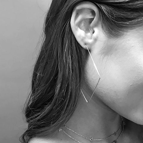 Oversized Square Hoops, Sterling Silver