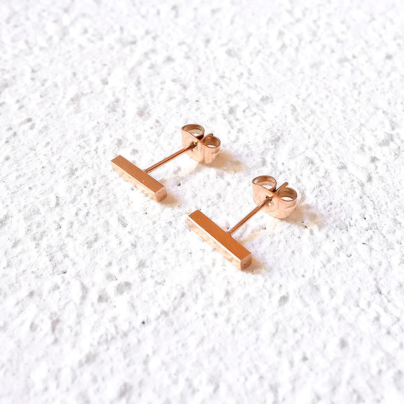 Bar Stud Earrings, Rose Gold