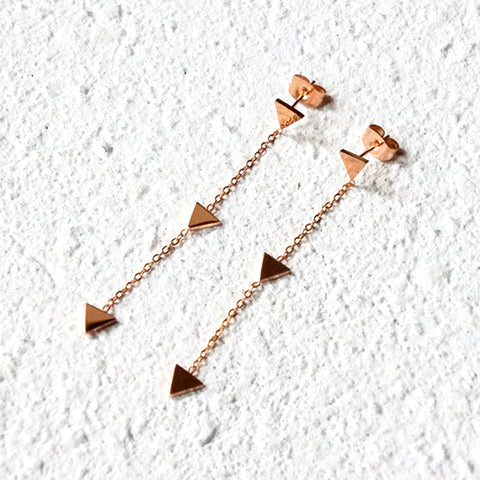 Pyramid Drop Earrings, Rose Gold