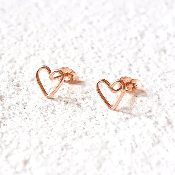 Heart Stud Earrings, Rose Gold Vermeil