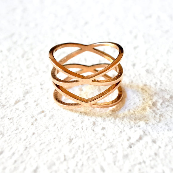 Double Crossed Ring, Rose Gold