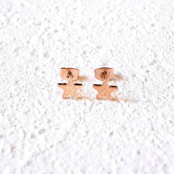 Star Stud Earrings, Rose Gold