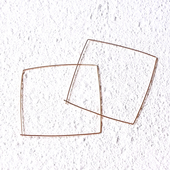 Oversized Square Hoops, Gold Vermeil