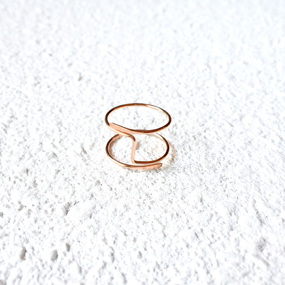 Hammered Midi Ring, Rose Gold Vermeil