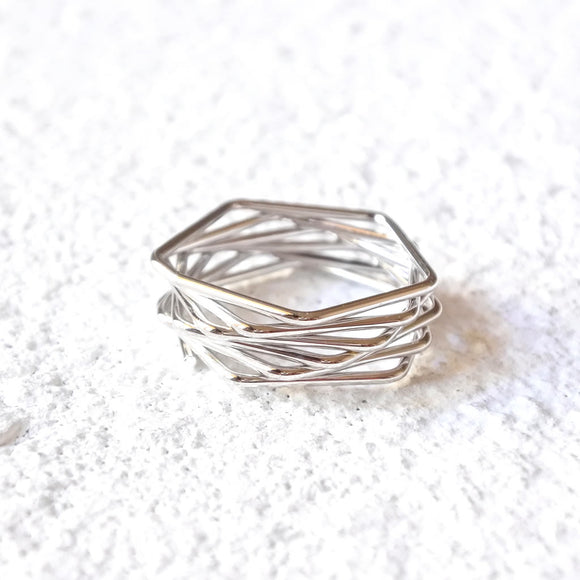 Stacked Geometric Ring, Silver