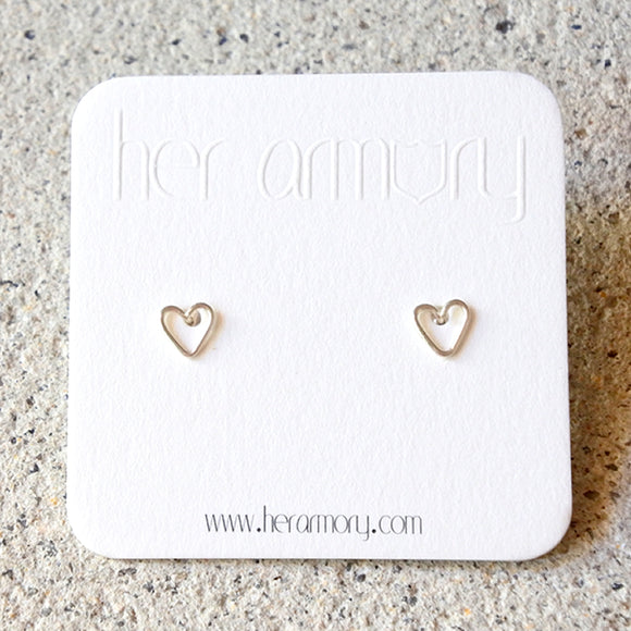 Heart Stud Earrings, Sterling Silver