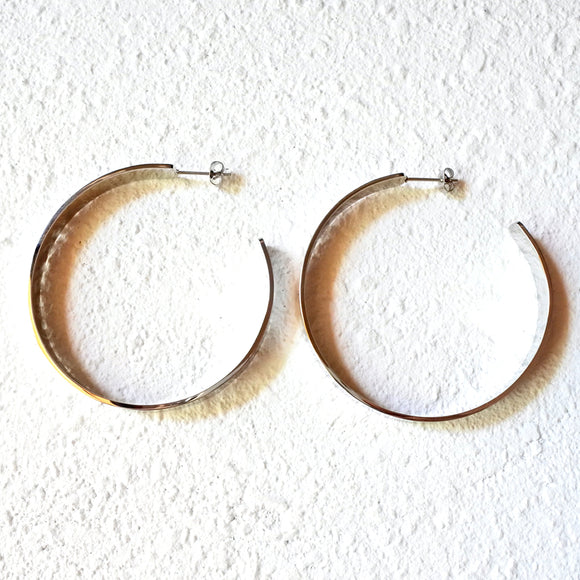 Goddess Hoop Earrings, Silver