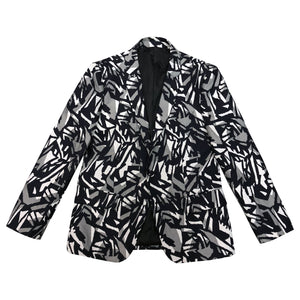 Black/White Geometric Pattern Blazer