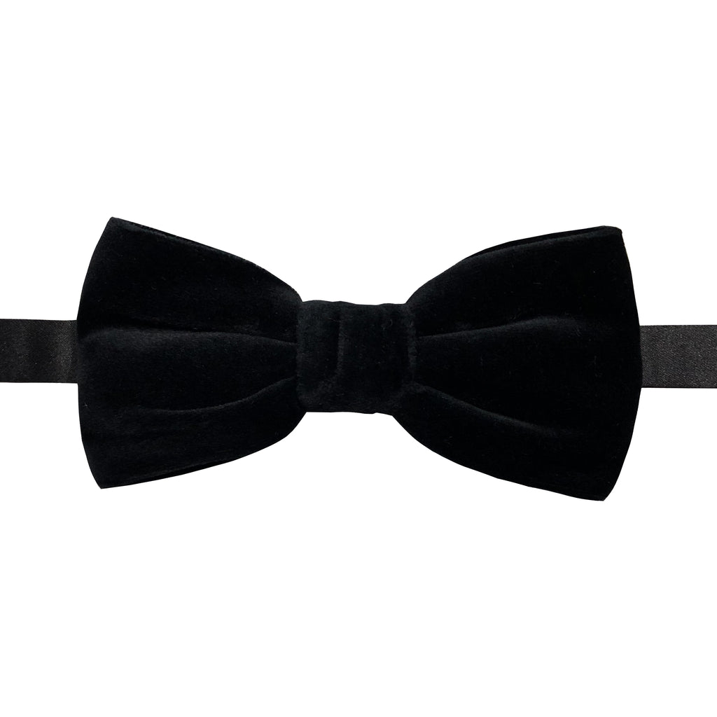 Black Cotton Velvet Bowtie