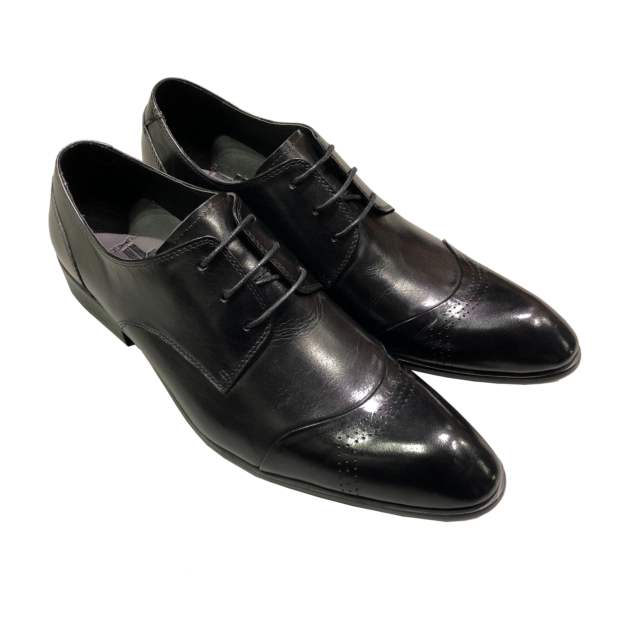Black Leather Derby Lace-up Shoes