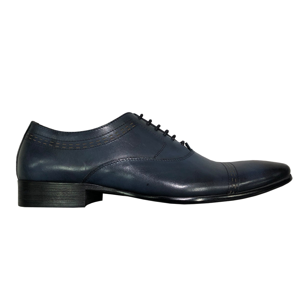 Blue Leather Oxford Lace-up Shoes