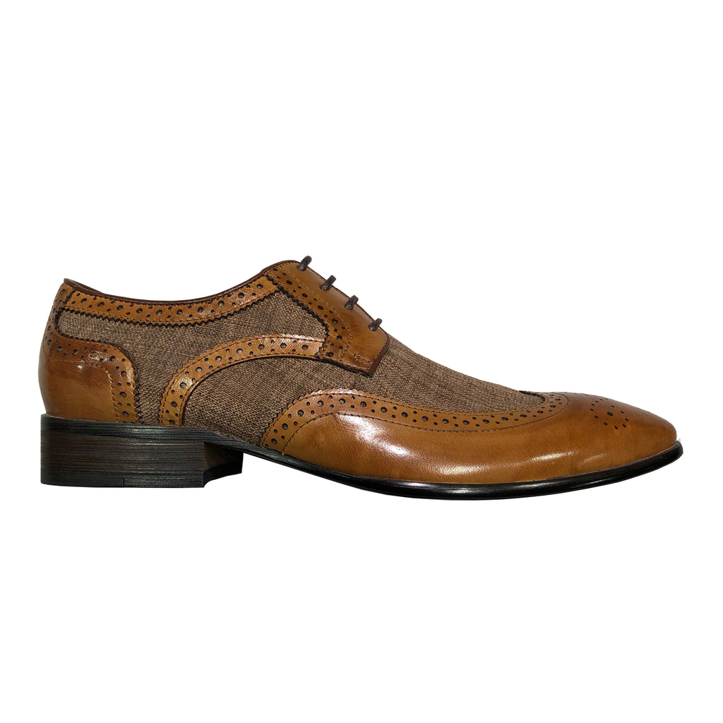 Brown Patchwork Leather Derby Lace-up Shoes