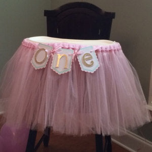 "Pink, Mint, and Gold ""one"" Highchair Banner"