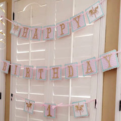Lavender and Gold Carousel Birthday and Highchair Banner