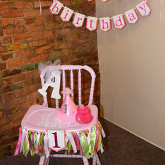 Pink and Green Highchair Ribbon Garland