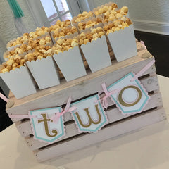 "Pink, Mint, and Gold ""two"" Highchair Banner"