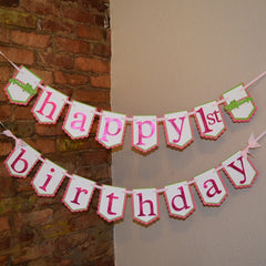 Pink and Green Alligator Birthday Banner