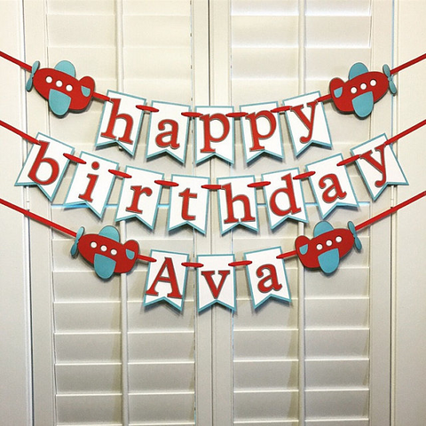 Airplane Birthday and Name Banner