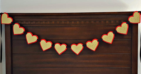 Red and Gold Heart Garland, Heart Banner or Photo Prop, Queen of Hearts Theme Garland