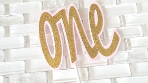 One, 1st Birthday Cake Topper or Smash Cake Topper in Pink and Gold for Carousel or Sweetheart Theme. Handcrafted in 3-5 Business Days