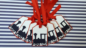 Choo Choo Train Gift Tags, Thank You Tags, or Treat Bag Tags in Red, White, and Navy Blue for Birthday or Baby Shower
