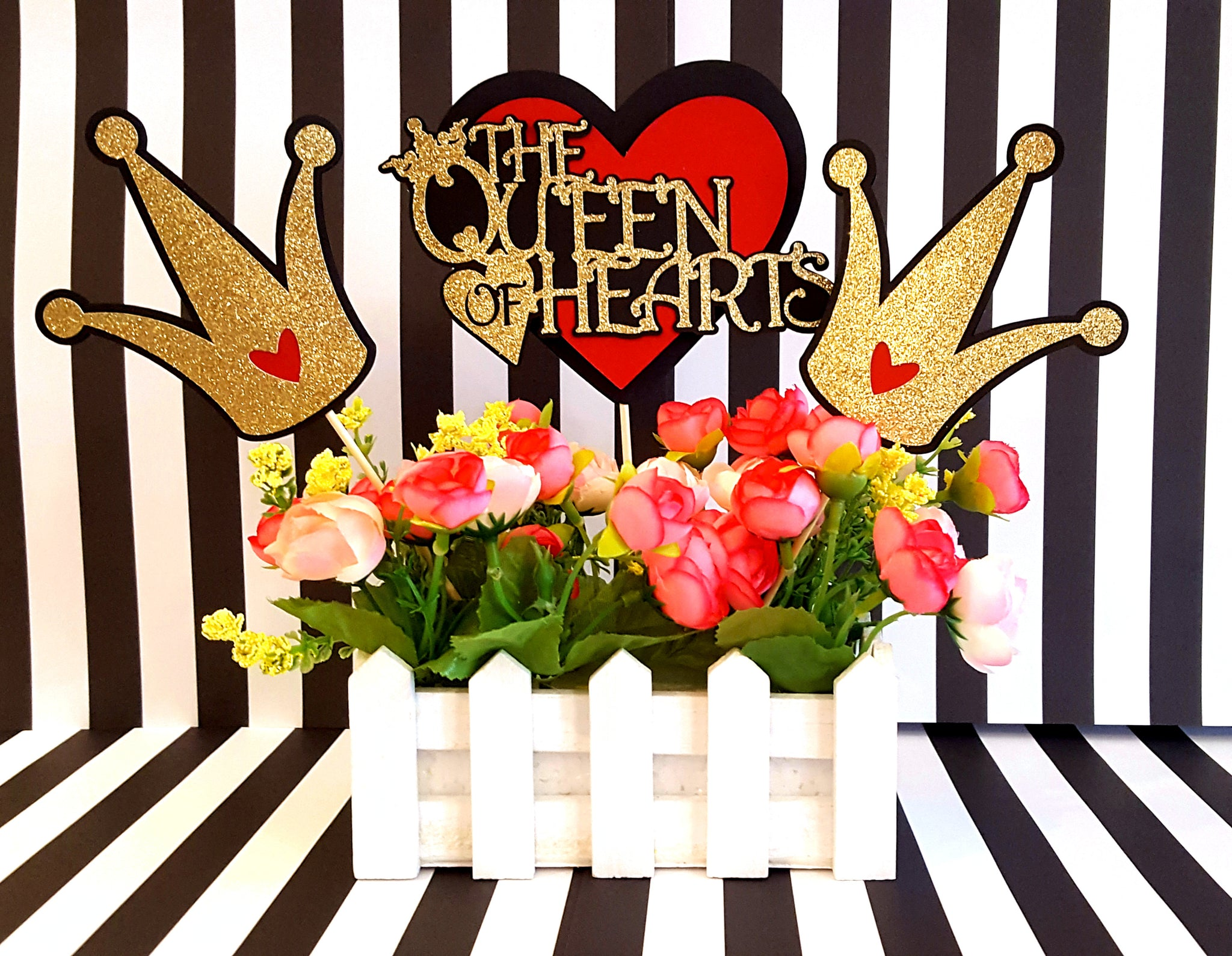 Queen of Hearts Centerpiece Set or Table Decor in Red, Black, White, and Gold for Birthday Party or Photo Prop