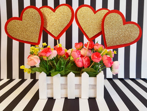 Queen of Hearts Theme, Red and Gold Heart Centerpiece Set or Table Decor for Birthday or Baby Shower, Valentine's Day Party