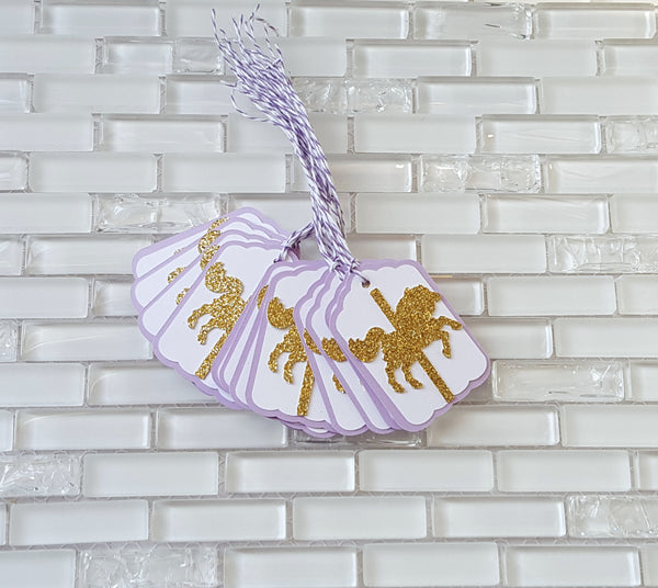 Gold Carousel Horse Hang Tags in Lavender and Gold for Birthday or Baby Shower, Purple and Gold Party Decor