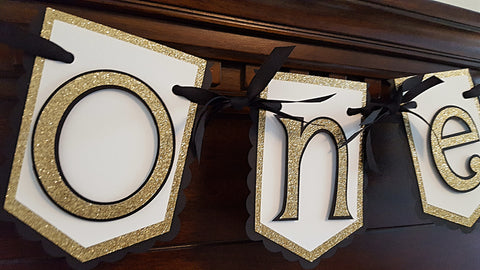 "Black and Gold Highchair Birthday Banner or Photo Prop, Black and Gold Party Theme, ""One"" or ""Two"" Highchair Banner"
