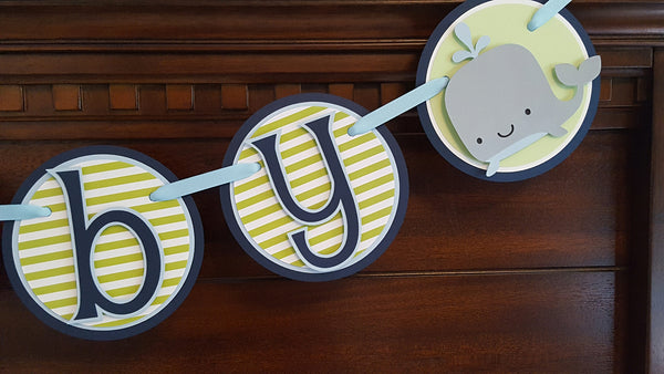 Silly Whale Baby Banner, Baby Shower Banner, Baby Boy Banner, Navy Blue and Green