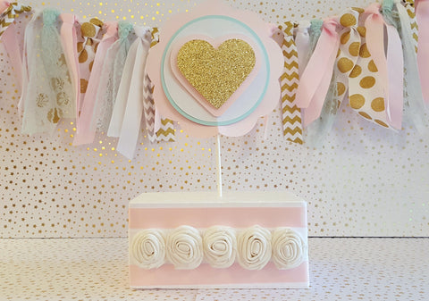 Little Sweetheart Theme, Gold Sparkle Heart Cake Topper or Smash Cake Topper in Pink, Mint and Gold