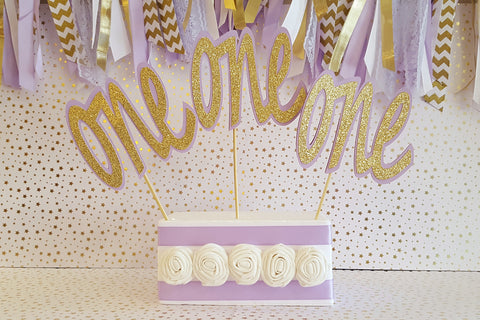 "Lavender and Gold , ""One"" First Birthday Centerpiece Set or Table Decor, Set of 3 Pieces"
