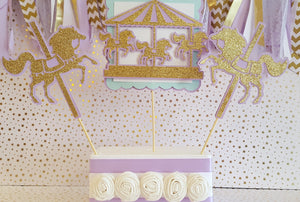 Lavender and Gold Carousel Centerpiece Set or Table Decor