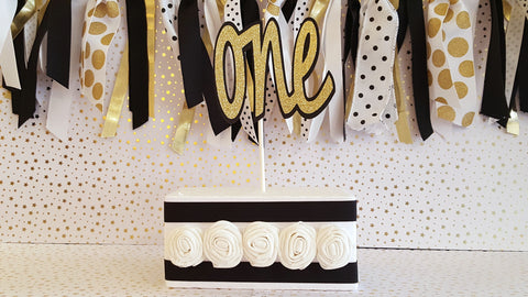 "Black and Gold , ""One"" First Birthday Cake Topper or Smash Cake Topper, Photo Prop, Black and Gold Theme"