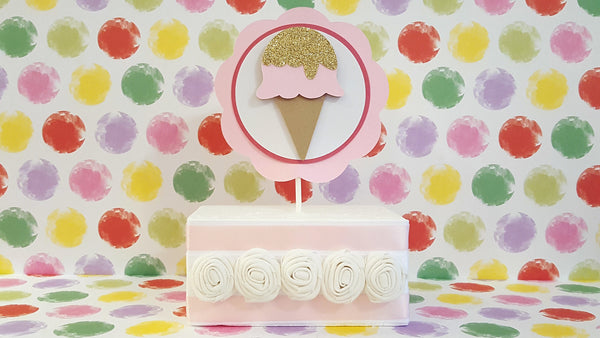 Sweet Treats, Ice Cream Cone Cake Topper or Smash Cake Topper Set in Pink and Gold for Ice Cream Social, Handcrafted in 3-5 Business Days