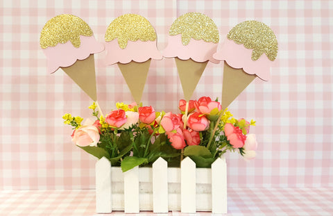 Sweet Treats, Ice Cream Social Centerpiece Set or Table Decor, Pink and Gold Ice Cream Cones, Handcrafted in 3-5 Business Days