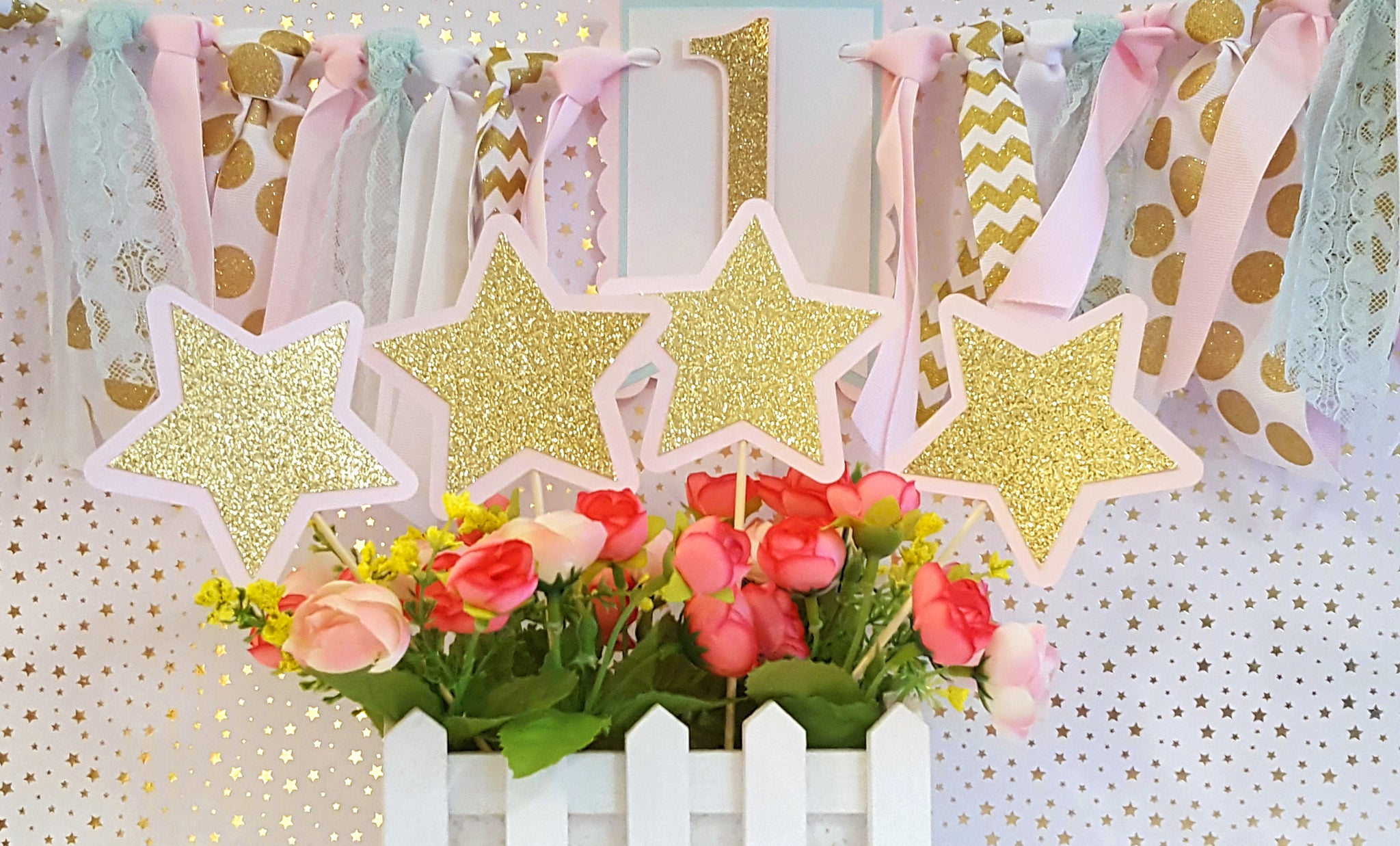 Pink & Gold Stars Centerpiece or Table Decor for Birthday or Baby Shower, Twinkle Little Star Theme. Handcrafted in 3-5 Business Days