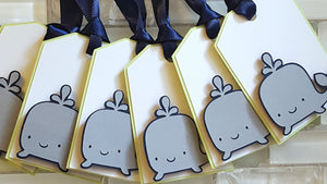 Silly Whale Gift Tags, Thank You Tags, or Treat Bag Tags in Navy Blue and Green for Birthday or Baby Shower