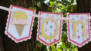 "Sweet Treats, Ice Cream Birthday Banner or Photo Prop, ""One"" or ""Two"" Banner, Pink and Gold Ice Cream, Handcrafted in 3-5 Business Days"