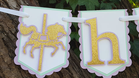 Lavender and Gold Carousel Birthday Banner or Name Banner with Customizable Text