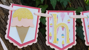 Sweet Treats, Ice Cream Birthday Banner or Name Banner, Pink and Gold Ice Cream, Customizable Banner, Handcrafted in 3-5 business days