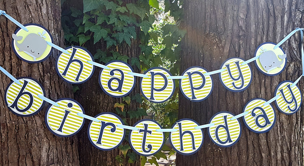 Whale Happy Birthday Banner or Name Banner in Navy Blue and Green, Customizable Text