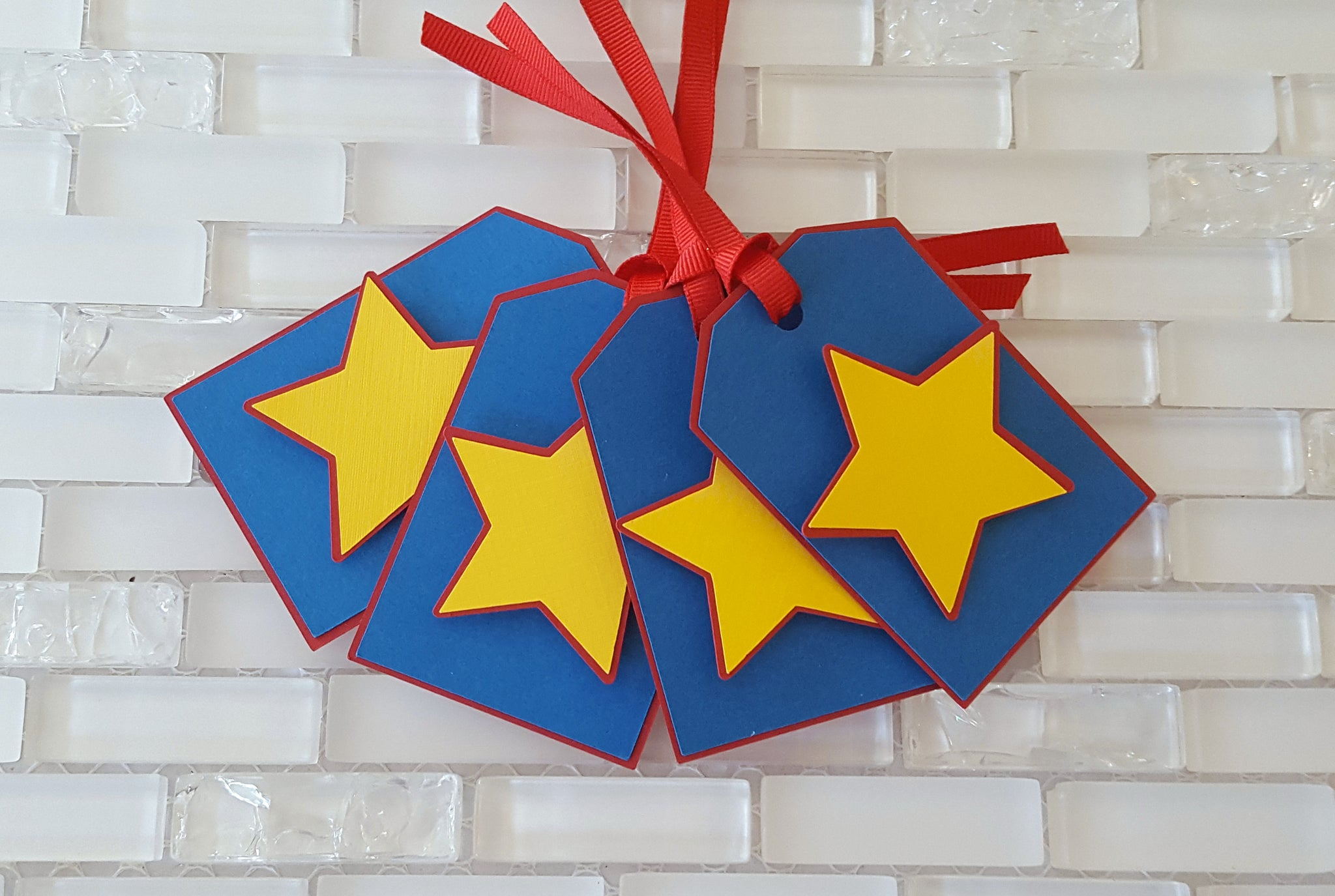 Superhero Theme Hang Tags, Star Tags, Gift Tags, or Thank You Tags in Red, Yellow, and Blue, Handcrafted in 3-5 Business Days