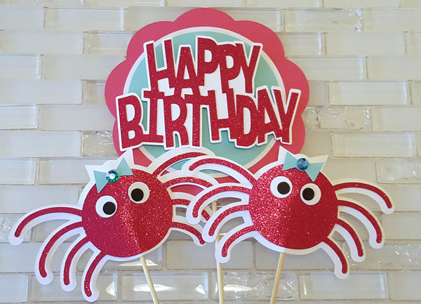 Itsy Bitsy Spider Birthday Centerpiece Set or Table Decor in Hot Pink and Aqua Blue. Handcrafted in 3-5 Business Days