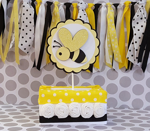 Bumble Bee Cake Topper or Smash Cake Topper in Yellow, Black, and White, for Birthday Party or Baby Shower