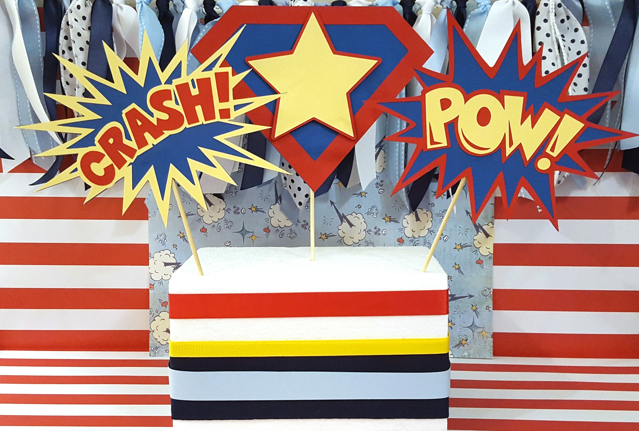 Crash, Pow, Superhero Centerpiece Set or Table Decor in Red, Yellow, and Blue for Birthday or Baby Shower