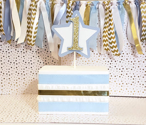 Baby Blue and Gold Star Cake Topper, Smash Cake Topper, Blue and Gold Theme Birthday, Customizable Number, Handcrafted in 3-5 Business Days