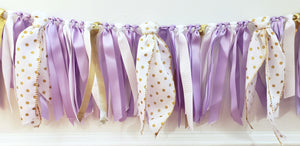Lavender and Gold Ribbon Banner, Ribbon Garland, Highchair Garland, Photo Prop or Party Backdrop, Lavender and Gold Party or, READY TO SHIP